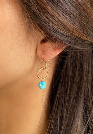 Turquoise Circle Earrings