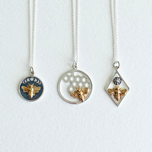 Diamond Frame Bee and Sun Charm Necklace