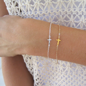 Petite Mini Side Ways Cross Bracelet