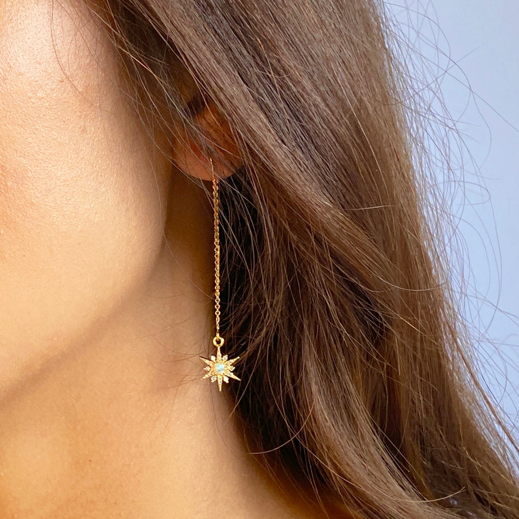 Star & Opal Threader Earrings