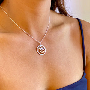 Silver Honeycomb and Bee Circle Charm Necklace