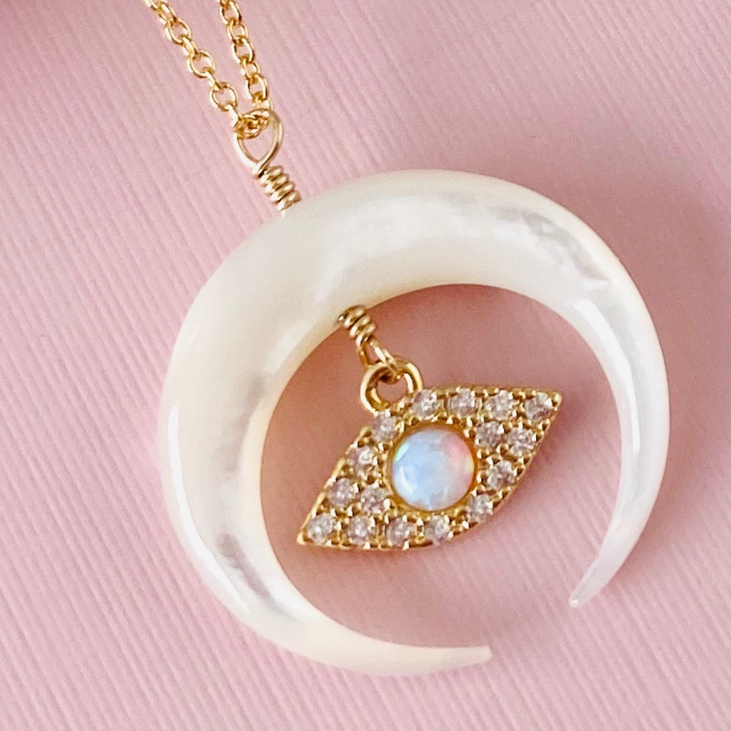 Mother Of Pearl Crescent Moon Charm Necklace