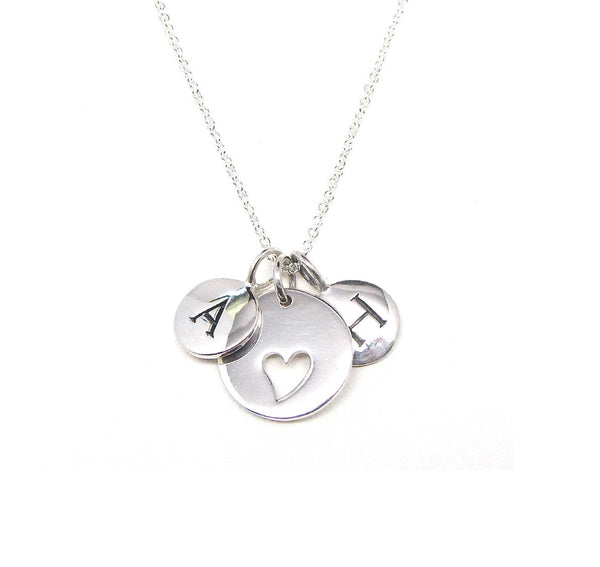 2 Silver Initial & Heart Charm Necklace