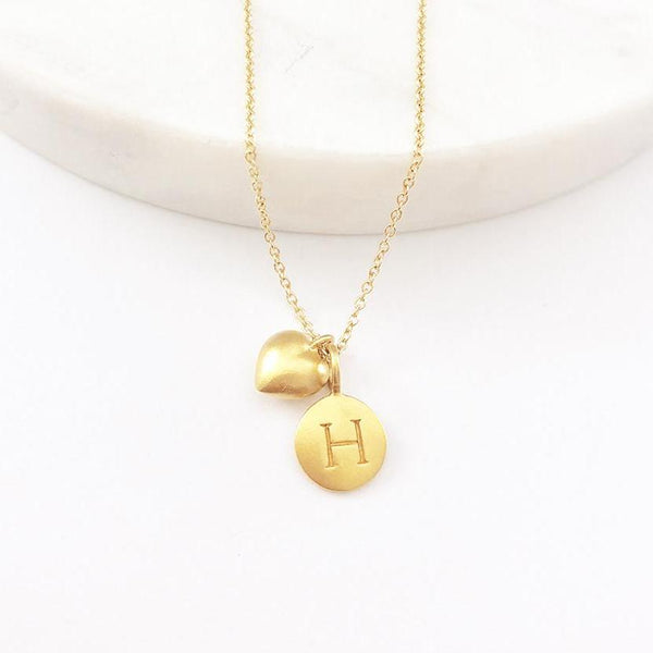 Gold Initial & Puffed Heart Charm Necklace