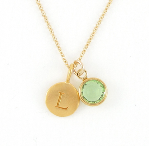 Gold Initial & Birthstone Charm Necklace