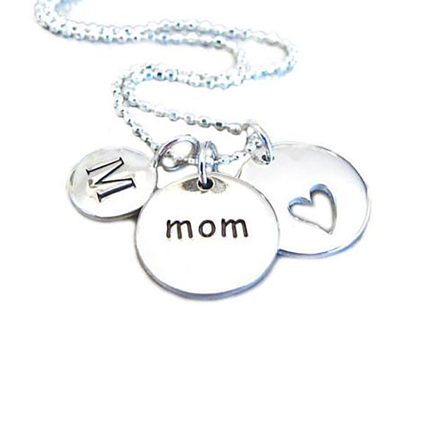 Mother's Day Initial & Heart Charm Necklace