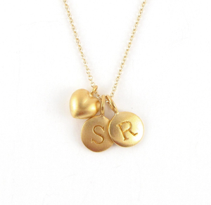 Gold 2 Initial & Puffed Heart Charm Necklace