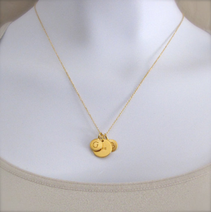2 Gold Initial & Pea Pod Charm Necklace
