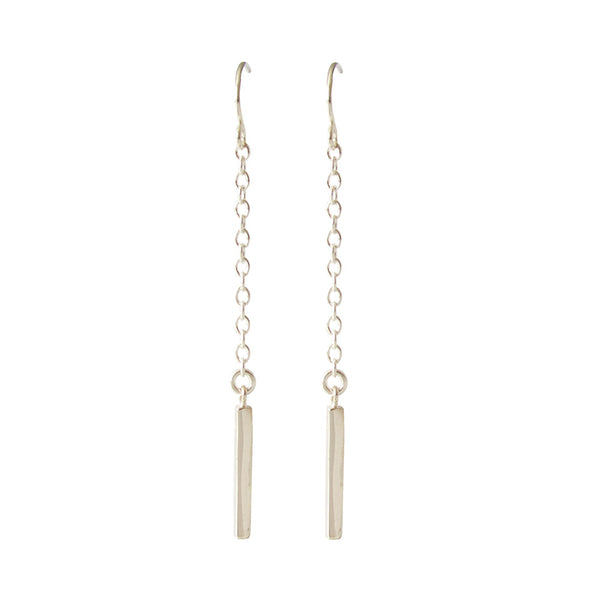 Silver Dangle Bar Earrings