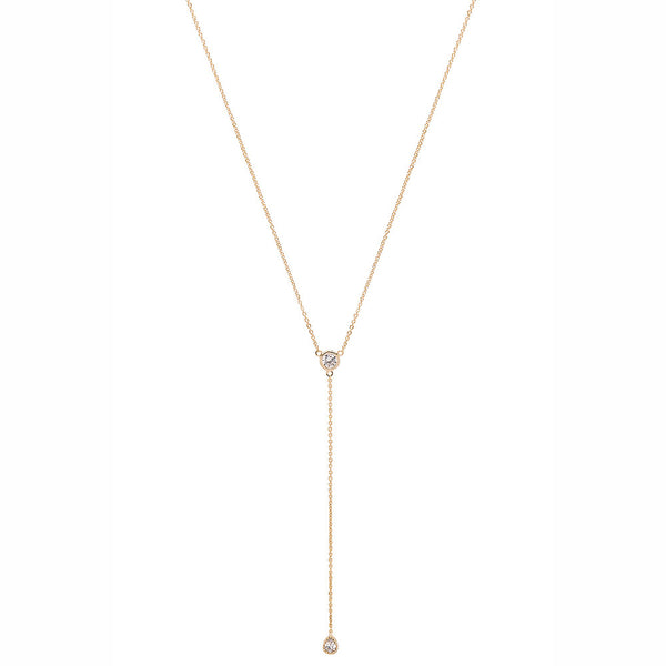 Gold solitaire Lariat Necklace