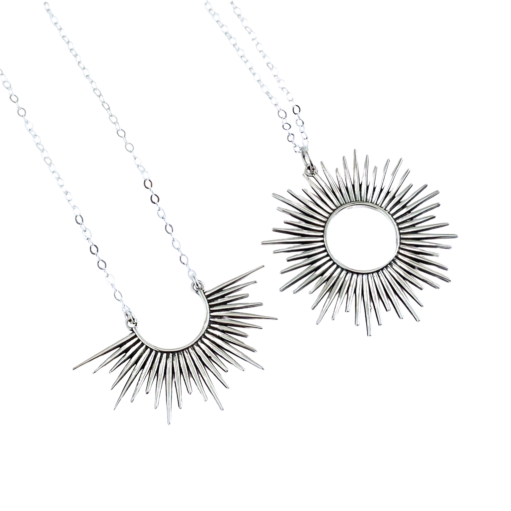 Sterling Silver Spikey Sun Pendant