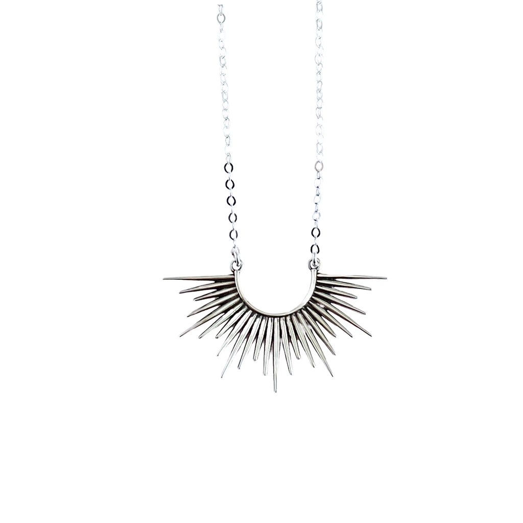 Sterling Silver Sunburst Spike Pendant