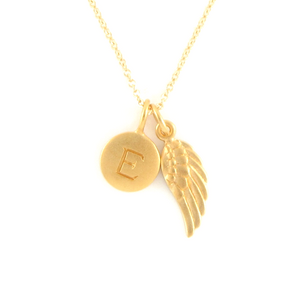 Gold Initial & Angel Wing Charm Necklace