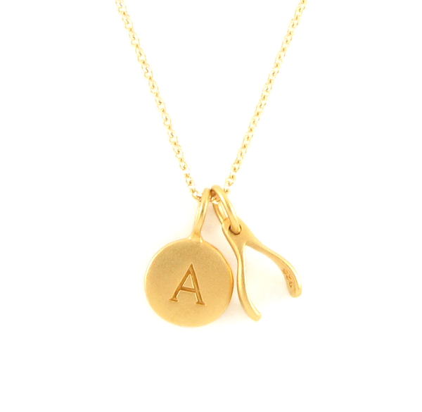Gold Initial & Wishbone Charm Necklace
