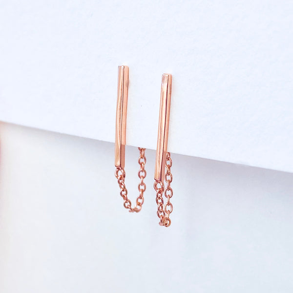 Bar Chain Stud Earrings
