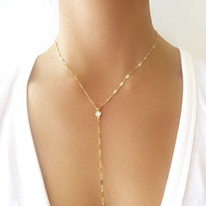 Long Dainty Lariat Necklace