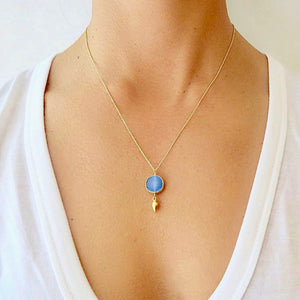Blue Druzy Gold Necklace