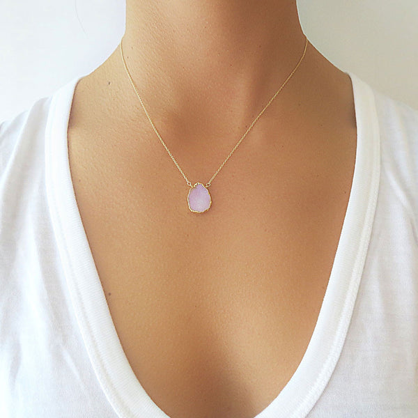 Pink Druzy Gold Necklace