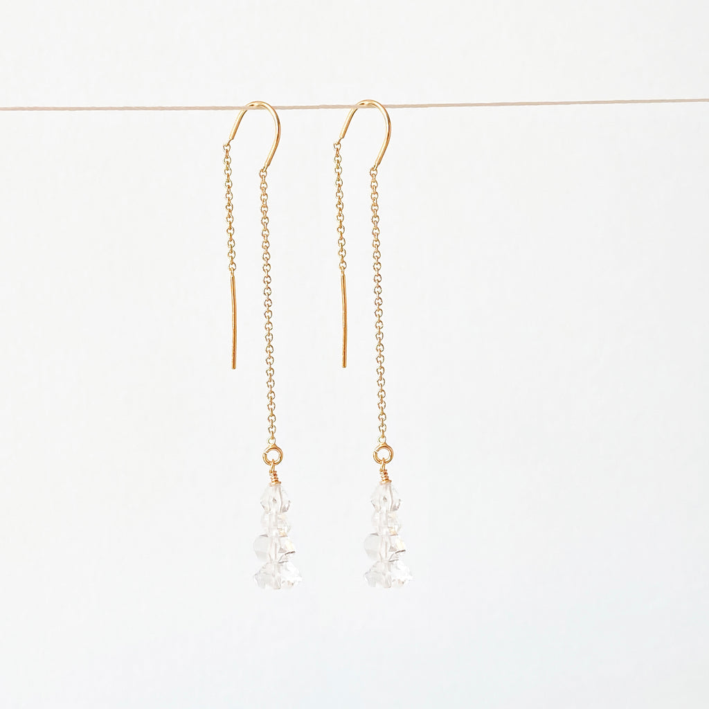 Herkimer Diamond Threader Earrings