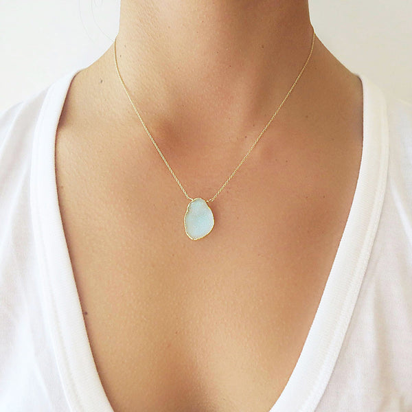 Gold Aqua Druzy Necklace