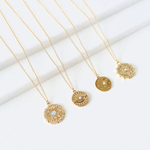 Gold Disc Opal Pendant Collection