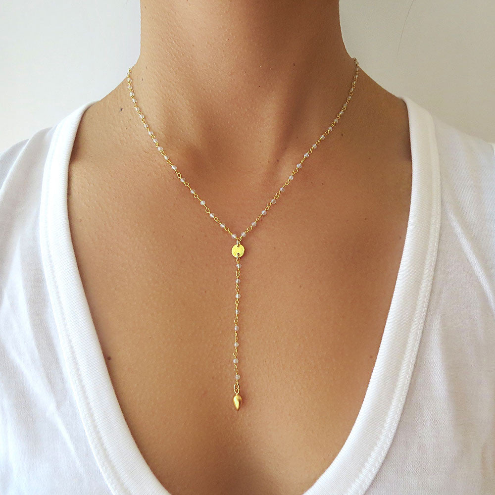 Gold Disc Lariat Necklace Tangerine Jewelry Shop