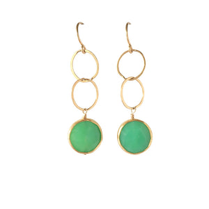 Gold Chrysoprase Coin Earrings