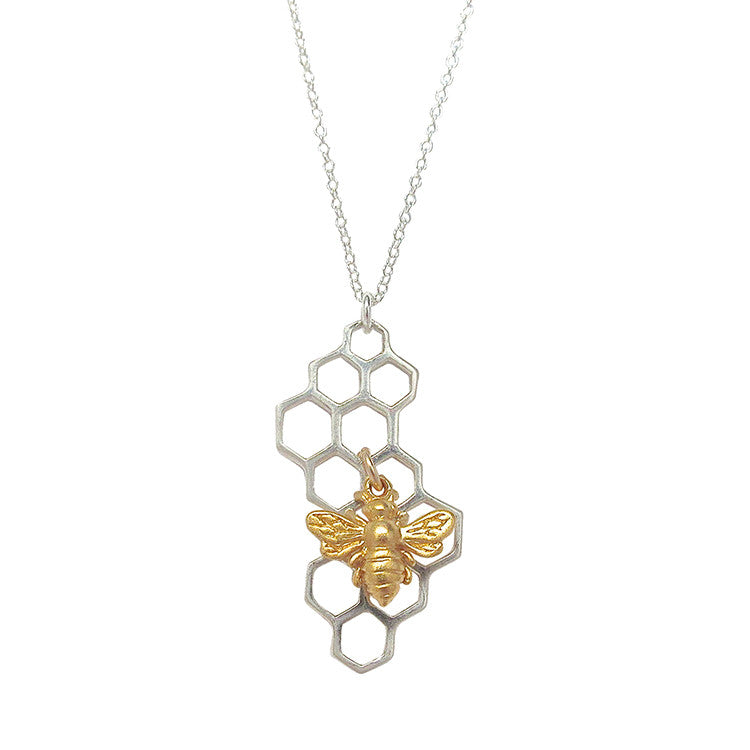 Honeycomb necklace with bee charm tangerine jewelry shop honeycomb necklace with bee charm aloadofball Gallery