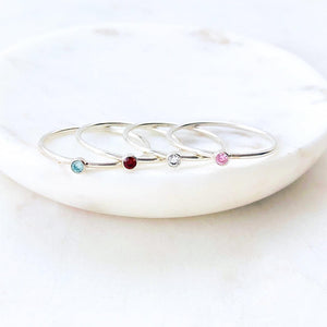 Birthstone Stacking Silver Ring