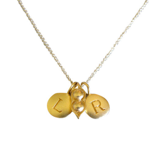1 Gold Initial & Pea Pod Charm Necklace