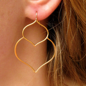 Gold Double Lotus Earrings