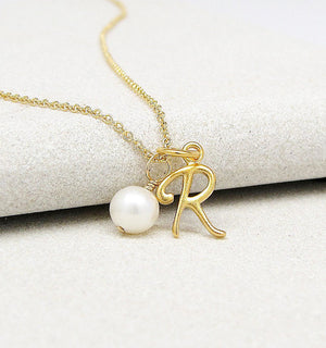 Script Initial & Pearl Necklace