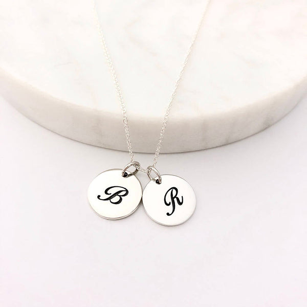 2 Script Initial Charm Necklace