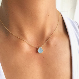 Aqua Druzy Drop Necklace