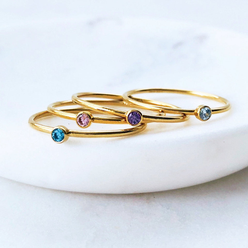 Birthstone Stacking Gold Ring