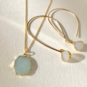 Aqua Druzy Pendant Necklace