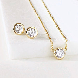 Diamond Necklace and Earring Gift Set