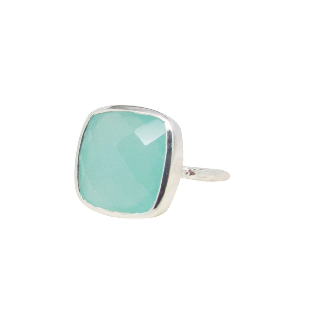 Aqua Chalcedony Silver Statement Ring