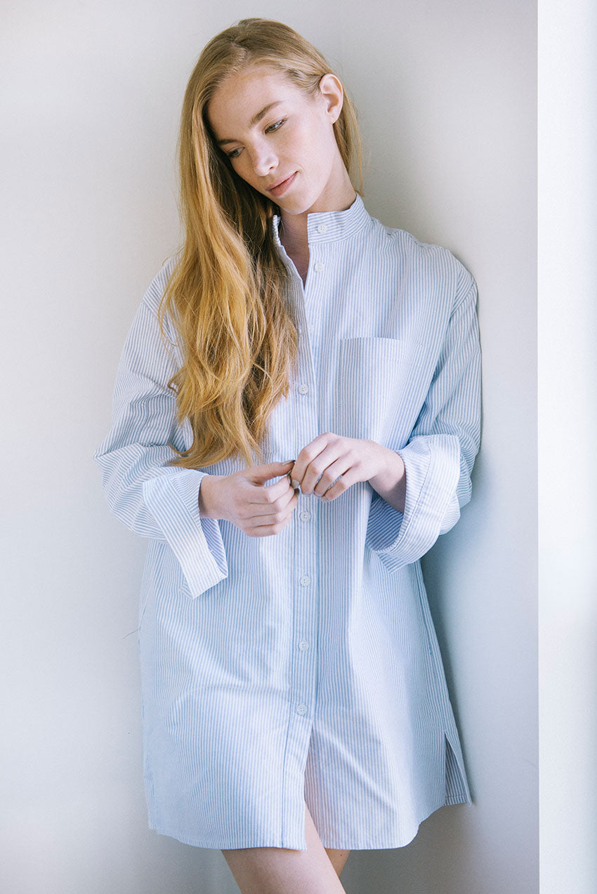 Model standing in Placket Sleep Shirt in popular Blue Oxford Stripe cotton