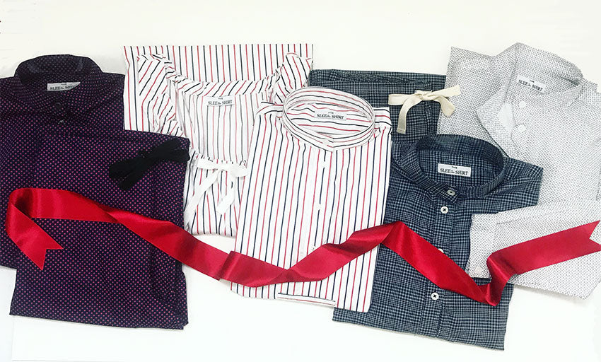 Lineup of the holiday collection with red ribbon accent