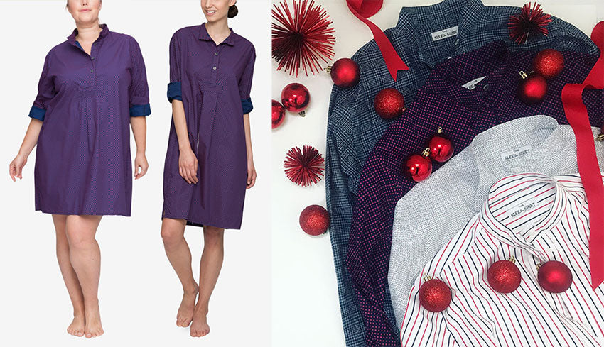 Navy and Red dot nightshirts