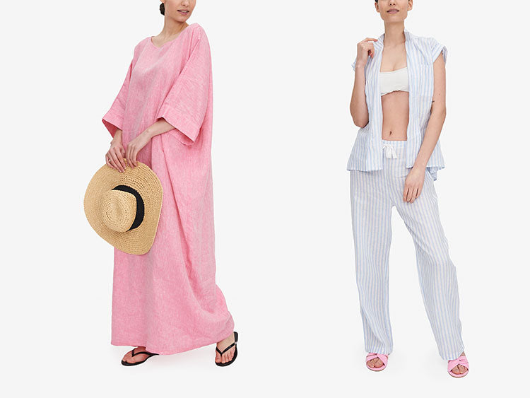 Women in chic summer loungewear and kaftans in linen and cotton