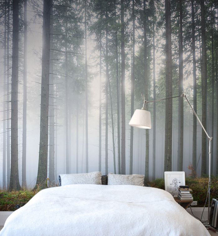 bedroom with scenic wallpaper