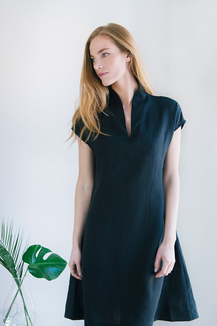 Model in Shawl Collar Nightie Black Linen by greenery