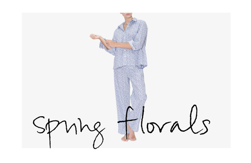Button Down Sleep Shirt and Lounge Pant Blue Floral Stripe - The Sleep Shirt