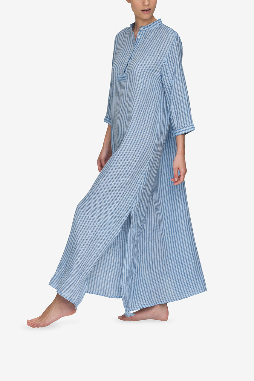 Full Length Sleep Shirt in Double Stripe Blue Linen