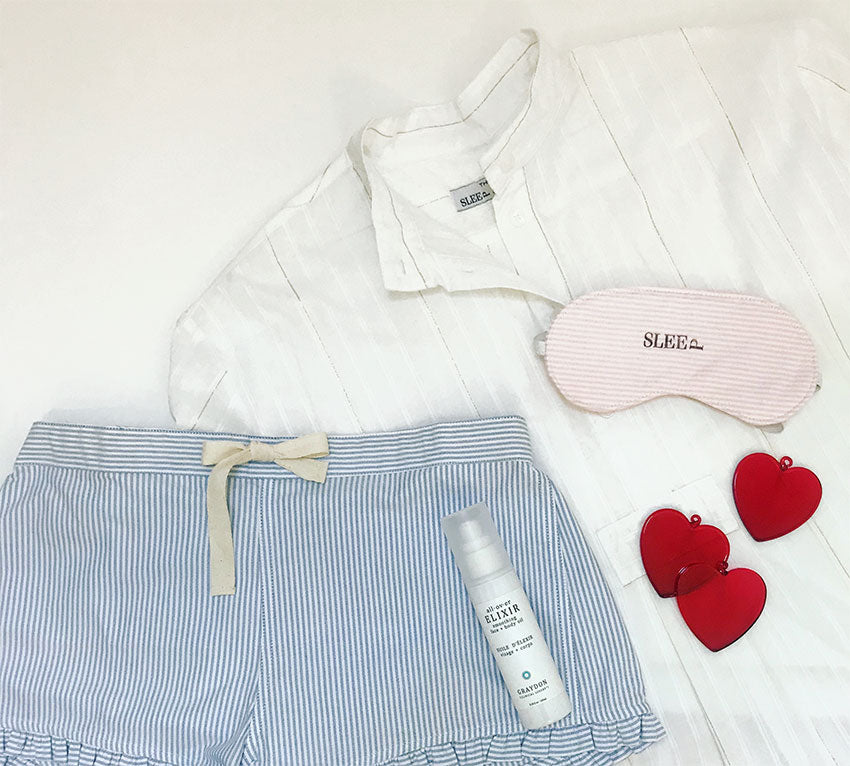 gifts for girlfriends and sisters featuring gold stipe short sleep shirt