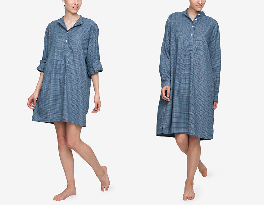 Navy Glen Plaid cotton featured in the short and long sleep shirt