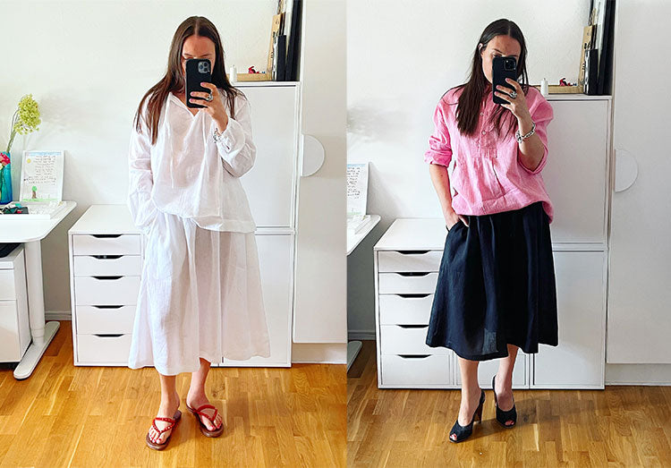 Mirror selfies of a woman wearing a white linen top and skirt, and a pink linen oversized shirt with skirt