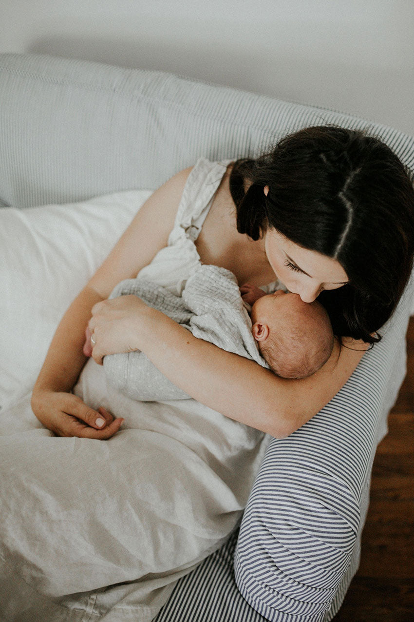 Mother on bed holiding baby in Sleeveless Nightie Oatmeal Linen